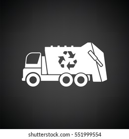 Garbage car recycle icon. Black background with white. Vector illustration.