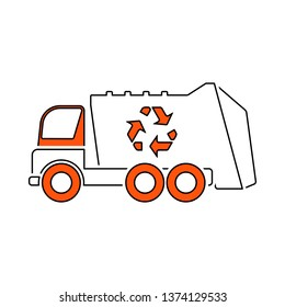Garbage Car With Recycle Icon. Thin Line With Red Fill Design. Vector Illustration.