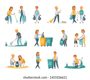 Garbage collection sorting recycling flat set with people picking up litter rubbish outdoor cleaning nature vector illustration