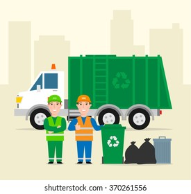 garbage collection .garbage truck garbage man in uniform waste bag recycle bin. waste management concept illustration