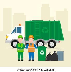 garbage collection .garbage truck garbage man in uniform waste bag recycle bin. waste management concept illustration
