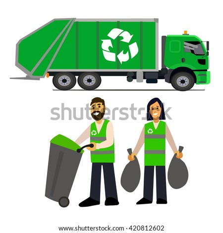 garbage collection garbage truck garbage men のベクター画像素材