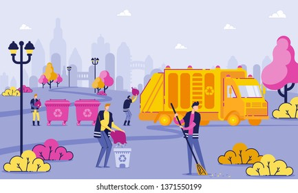Garbage Collection Workers Clean Park Cartoon Flat. Male Janitor Sweeping Street. People Collect Garbage in Containers and Tanks. Garbage Truck Loads Collected Waste. Vector Illustration.