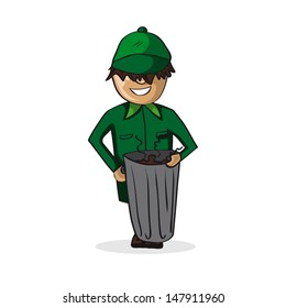 Garbage collector man holding a trash bin isolated over white. Vector file layered for easy editing.