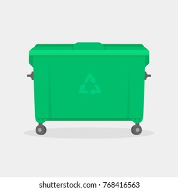 Garbage container. Green trash dumpster vector illustration isolated on white background with shadow. Trash recycling concept