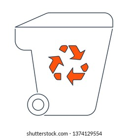 Garbage Container With Recycle Sign Icon. Thin Line With Red Fill Design. Vector Illustration.