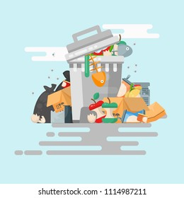 Garbage container vector illustration in modern style. Trash can set with rubbish.