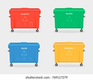 Garbage containers. Green, red, yellow, and blue trash dumpster for trash, like paper, glass, plastic, and food waste. Vector Illustration isolated on white background. Trash recycling concept