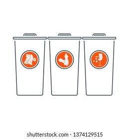 Garbage Containers With Separated Trash Icon. Thin Line With Red Fill Design. Vector Illustration.