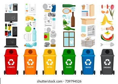 Garbage containers and types of trash, colorful vector icons