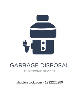 garbage disposal icon. Trendy flat vector garbage disposal icon on white background from Electronic devices collection, vector illustration can be use for web and mobile, eps10