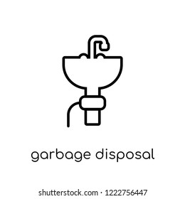 garbage disposal icon. Trendy modern flat linear vector garbage disposal icon on white background from thin line Electronic devices collection, outline vector illustration