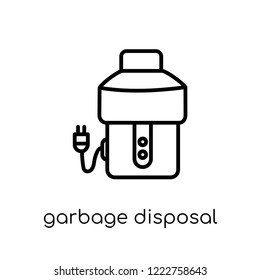 garbage disposal icon. Trendy modern flat linear vector garbage disposal icon on white background from thin line Electronic devices collection, editable outline stroke vector illustration