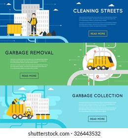Garbage disposal, sanitary works, employees of garbage collection, cleaning, sorting, processing and recycling of garbage. Flat design vector illustration. 3 banners.