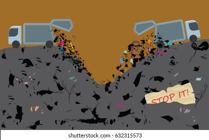 Garbage dump. Throw away waste. Environment pollution. Ecology catastrophe concept. Vector illustration
