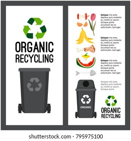 Garbage grey container info with organic trash elements, vector illustration