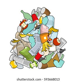 Garbage heap  isolated. Pile Rubbish. Stack trash. litter background. peel from banana and stub. Tin and old newspaper. Bone and packaging. Crumpled paper and plastic bottle