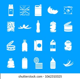 Garbage icon set. Simple set of garbage vector icons for web design isolated on blue background