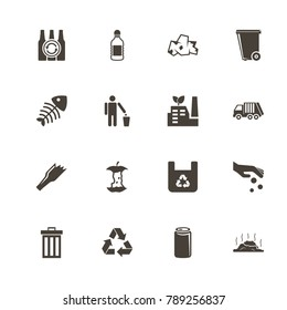 Garbage icons. Perfect black pictogram on white background. Flat simple vector icon.
