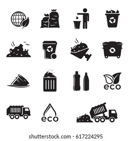 Garbage icons set. Black on a white background