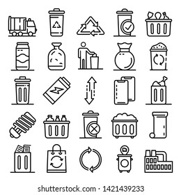 Garbage icons set. Outline set of garbage vector icons for web design isolated on white background
