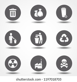 Garbage icons set. Vector illustration. Signs for infographic, logo, app development and website design.