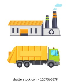 Garbage infographic elements, truck transporting waste to building with recycle sign, conservation of nature and recycling process vector illustration