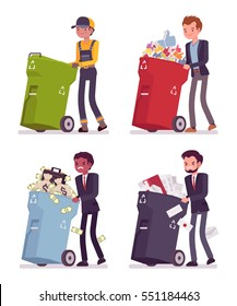 Garbage man and businessmen carring away useless things in trash bins on wheels, ineffective documents, refused money, deleted likes, empty it and get rid of, bright colorful barrels, full length