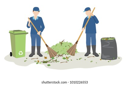garbage man or janitor sweeping and cleaning litter and leaves