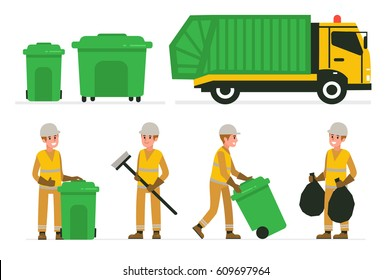 Garbage man at work. Vector illustration. Infographic elements collection.