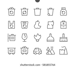 Garbage Outlined Pixel Perfect Well-crafted Vector Thin Line Icons 48x48 Ready for 24x24 Grid for Web Graphics and Apps with Editable Stroke. Simple Minimal Pictogram Part 1-1