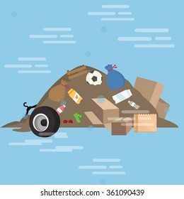garbage pile waste product dirty vector cartoon illustration junk yard