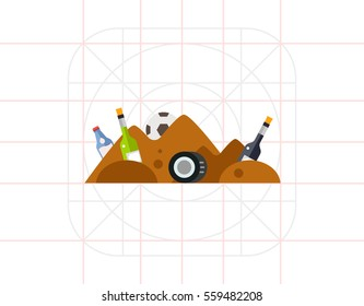 Garbage Pile Waste Vector Icon