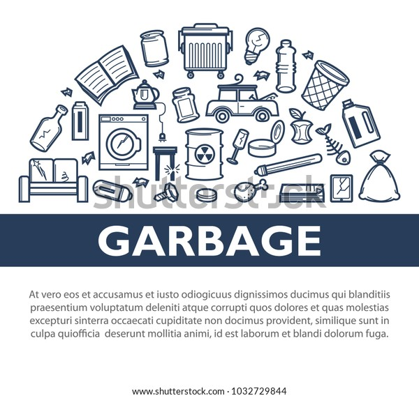 Garbage Promotional Informative Monochrome Banner Sample Stock