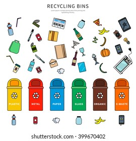 Garbage and recycling bins with plastic, metal, paper, glass, organic,e-waste vector flat illustration. Set for ecological website. Isolated on white background.