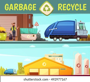 Garbage recycling green  eco friendly service symbol and processing facilities 2 cartoon style banners isolated vector illustration