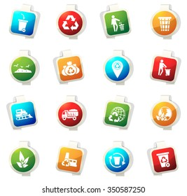 Garbage and recycling industry stickers label icon set