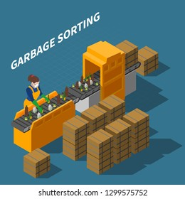 Garbage recycling isometric composition with female worker in uniform and automatic conveyor with waste and text vector illustration
