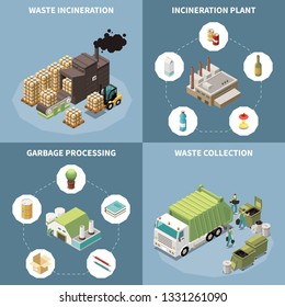Garbage recycling isometric icon set with waste incineration garbage processing and waste collection descriptions vector illustration