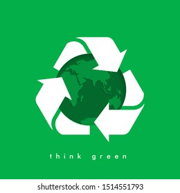Garbage recycling logo. Vector recycling arrows with the Earth planet. Reuse Reduce Recycle. Earth day. Conscious consumption.