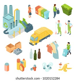 Garbage recycling set of isometric icons with waste processing plant, refuse truck, trash bins isolated vector illustration