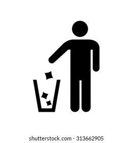 Garbage Recycling Sign , Man icon . Vector illustration