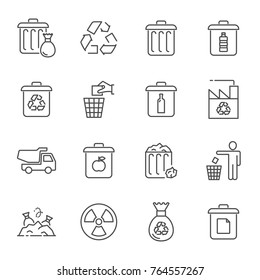 Garbage and recycling vector icons set line style