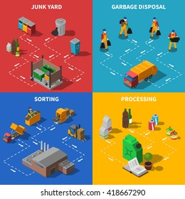 Garbage Recycling and Waste Sorting Isometric Concept Set Isolated Vector Illustration