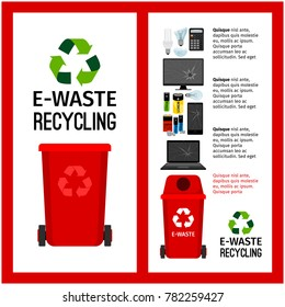 Garbage red container info with e-waste trash elements, vector illustration