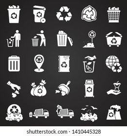 Garbage related icons set on background for graphic and web design. Simple illustration. Internet concept symbol for website button or mobile app.
