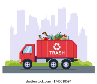 garbage removal by truck from the city. flat vector illustration.