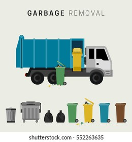 Garbage removal flat illustration. Banner with garbage truck and dumpsters.