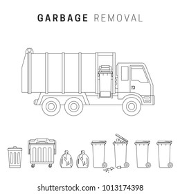 Garbage removal line illustration. Line drawings of garbage truck and dumpsters.