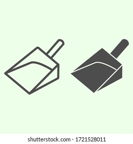 Garbage scoop line and solid icon. House cleaning plastic shovel or dustpan symbol, outline style pictogram on white background. Home repair vector sign for web and mobile concept